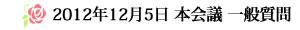 2012年12月5日 本会議 一般質問