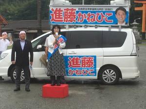 大野川上流開発事務所の加藤所長と、菅生地域の農業について話し合い。001
