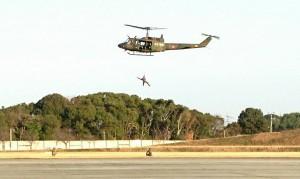 目達原駐屯地では、ヘリコプター部隊の防衛防災訓練