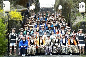 岡城桜まつり 大名行列 記念撮影