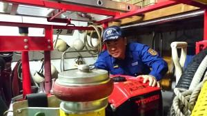 消防団は消防車とポンプを点検 大分県議会議員 土居昌弘