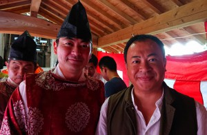 大塚八幡様の秋祭りで森県議と 大分県議会議員 土居昌弘