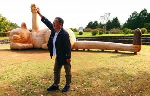 朝地の朝倉文夫記念館 寝ころび招き猫  大分県議会議員 土居昌弘